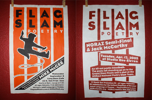 two silkscreen posters for the 2004-2005 FlagSlam poetry season