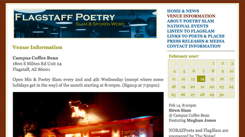 homepage of the flagstaffpoetry.com website
