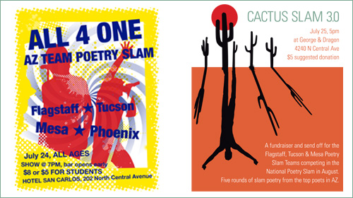 Posters for regional poetry slams in Phoenix